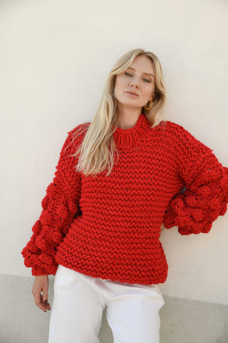 ZARENA BUBBLE KNIT SWEATER- RED