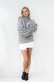ZARENA BUBBLE KNIT SWEATER- GREY
