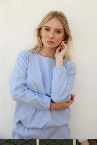 Zaza Ribbed Long Sleeve Top -Periwinkle