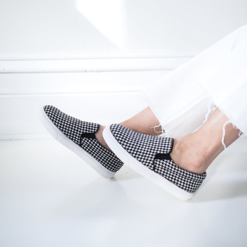 Zoey Houndstooth Print Slip On Shoes