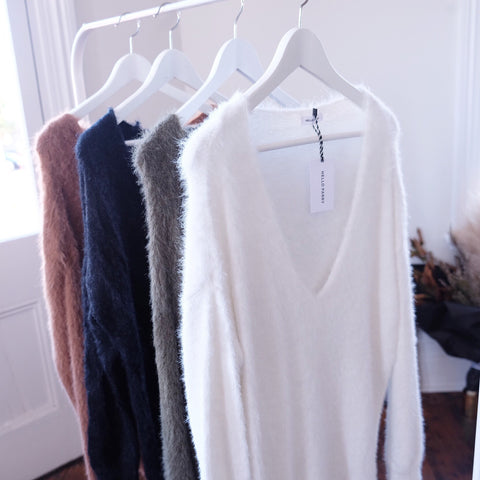 Cherie V-neck Fluffy Sweater - HELLO PARRY Australian Fashion Label