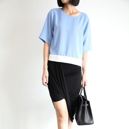 Julietta Blue Two-Tone Top