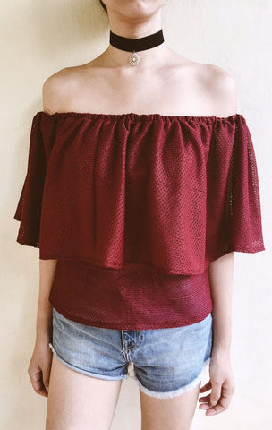 Cassandra Off Shoulder Top - Burgundy
