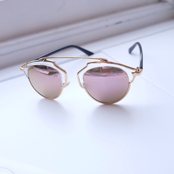 Norway Geometric Sunglasses Blush Pink/Gold