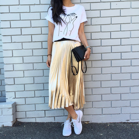 Grace Metallic Midi Pleated Skirt