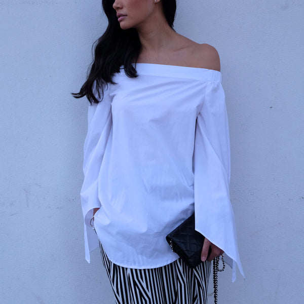 Fallon Longline Off-Shoulder Shirt -White - HELLO PARRY Australian Fashion Label