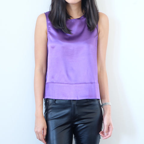 Auden Silky Button Back Top - Purple - HELLO PARRY Australian Fashion Label