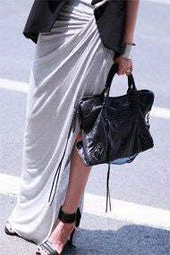 Grey Ruche Split Jersey Maxi Skirt - HELLO PARRY Australian Fashion Label
