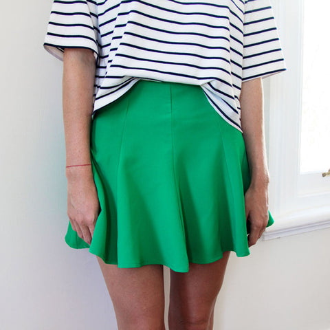 Hannah Vivid Flared Skirt - Emerald Green - HELLO PARRY Australian Fashion Label