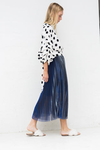 SANDRA MAXI METALLIC PLEATED SKIRT