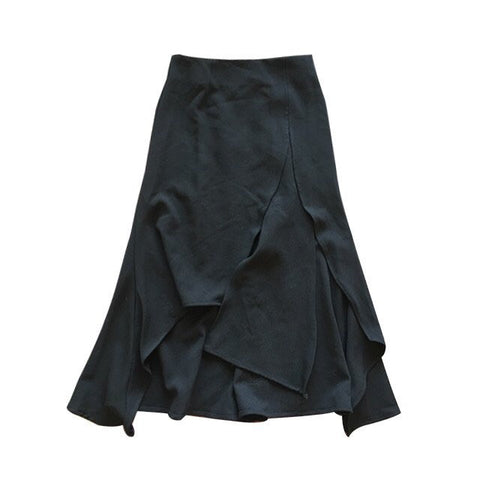 ANGELA SPLIT FLUTED SKIRT-BLACK