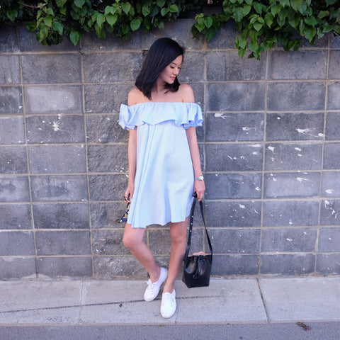 HAYLEY OFF SHOULDER DRESS -STRIPE