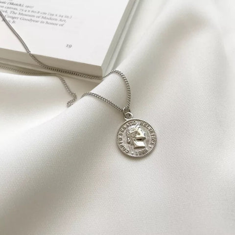 Helvetica Silver Coin Necklace