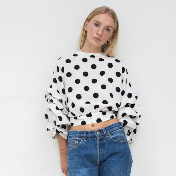 DORIS POLKA DOT RUFFLE TOP
