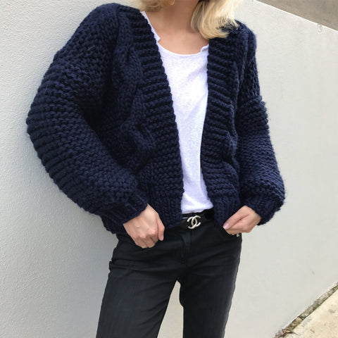 Annie Hand knitted Cable Wool Blend Cardigan - Navy