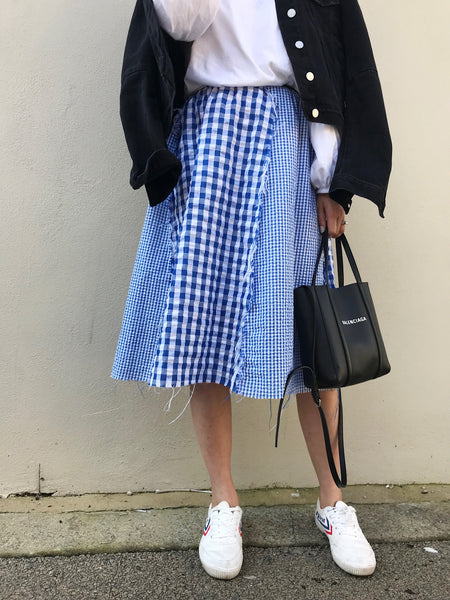 Zodie Gingham Patchwork Skirt - Blue