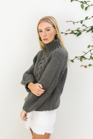 RAYNE HIGH NECK CABLE JUMPER- SMOKE