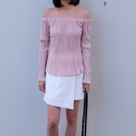 MEGAN PLEATED OFF SHOULDER TOP - Nude Pink
