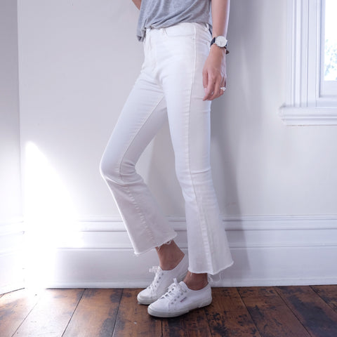 Tegan Mini Flared Crop Jeans-White
