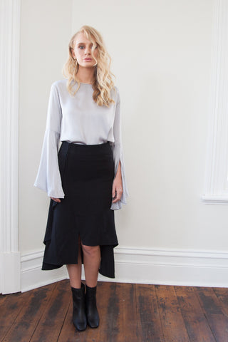 ANGELA SPLIT FLUTED SKIRT