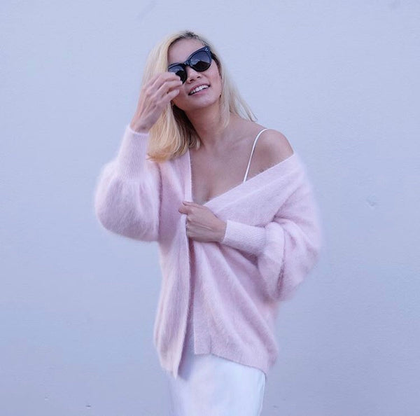 Brodie Fluffy Open Cardigan-Pink