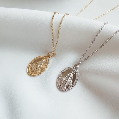 Mini St Mary Oval Coin Necklace