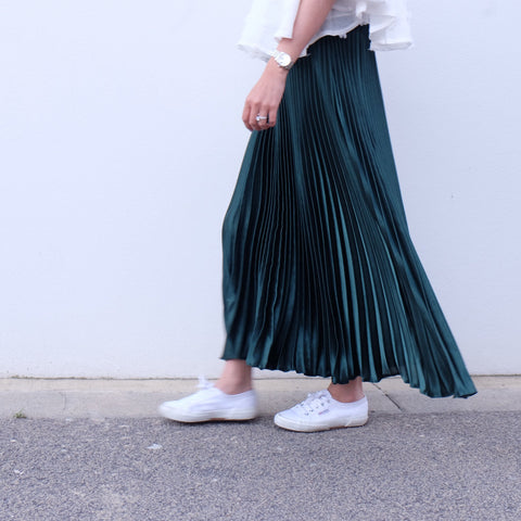 GAIL MAXI PLEATED SKIRT- Emerald Green