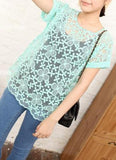 Lace Mint Embroidered Top - HELLO PARRY Australian Fashion Label