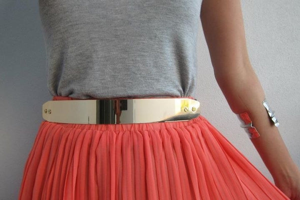 Golden Shiny Metal Belt - HELLO PARRY Australian Fashion Label