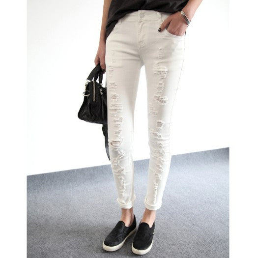 Emmanuelle Distressed Skinny Jeans - White - HELLO PARRY Australian Fashion Label