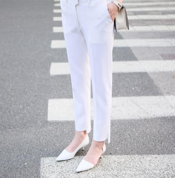 Ankle Detail Cropped White Trousers - HELLO PARRY Australian Fashion Label
