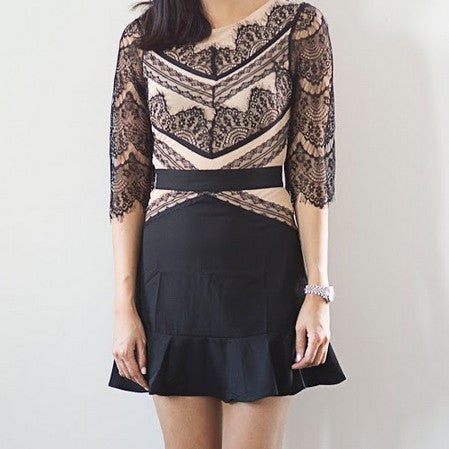 Whitney Lace Mesh Dress- Black - HELLO PARRY Australian Fashion Label