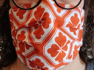 ORANGE FLOWERS - Tie-on Face Mask