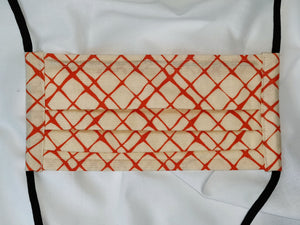 ORANGE CROSSHATCH - Tie-on Face Mask
