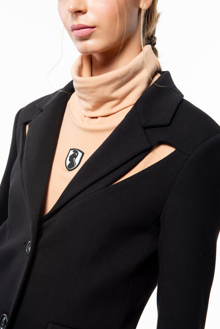 COLD SHOULDER BLAZER - BLACK