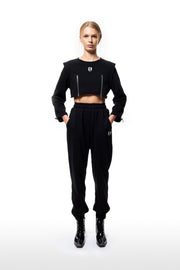 Shoulder-Pad Crop Sweatshirt - Black
