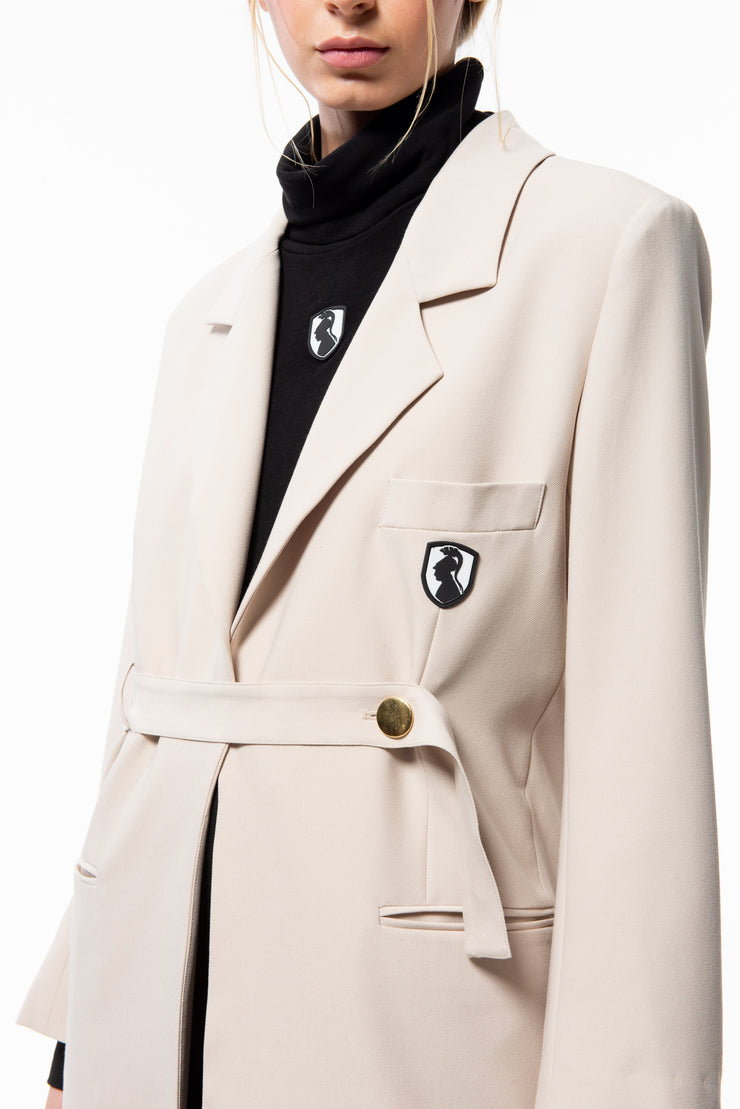 Cream Belted Oversized Blazer