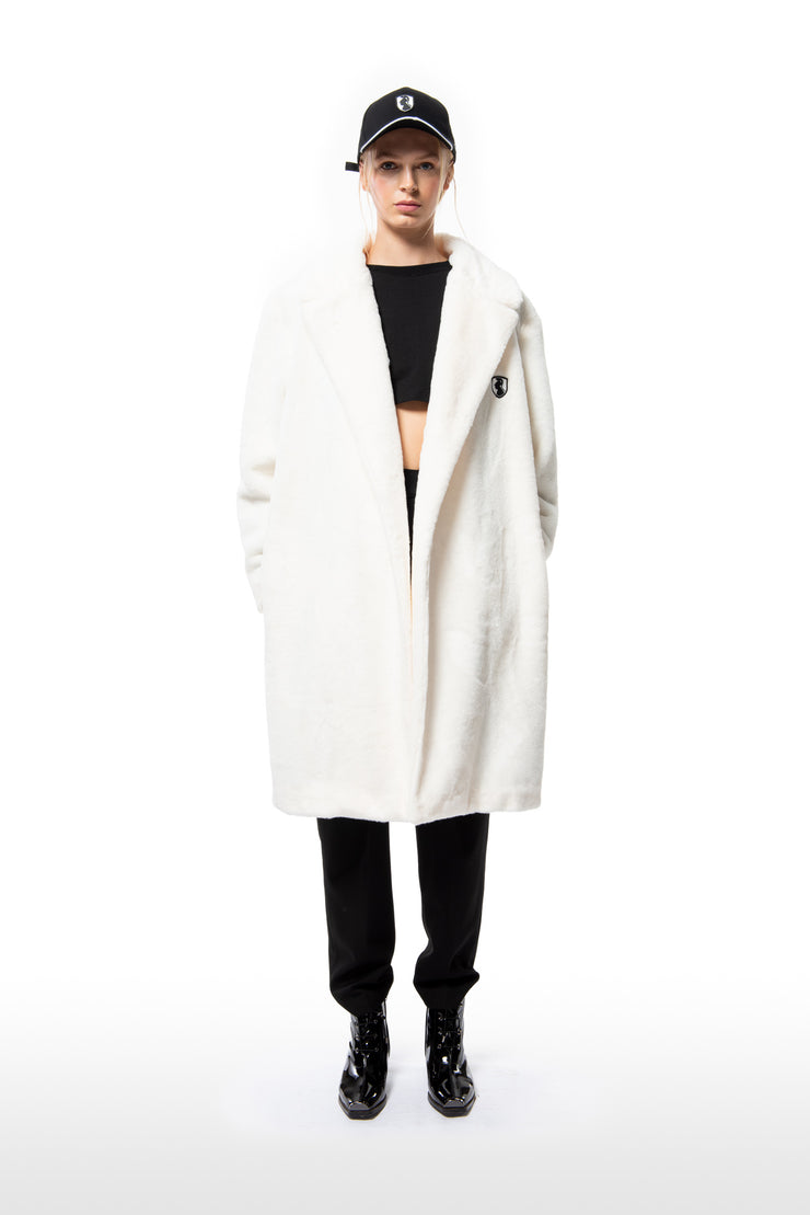 FAUX FUR TRENCH COAT - IVORY