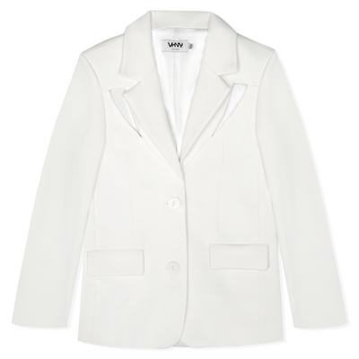 VHNY WHITE COLD SHOULDER BLAZER
