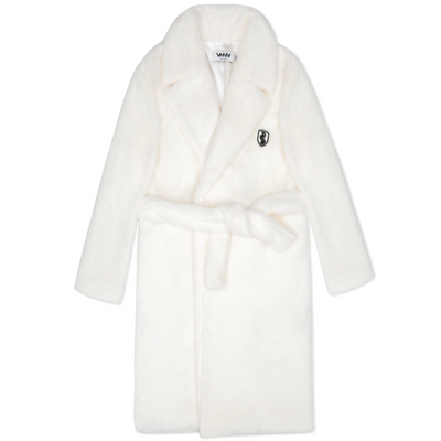 VHNY IVORY FAUX FUR TRENCH COAT