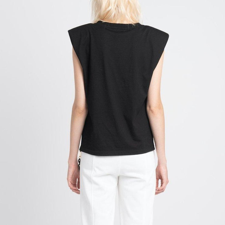 vhny black shoulder pad top