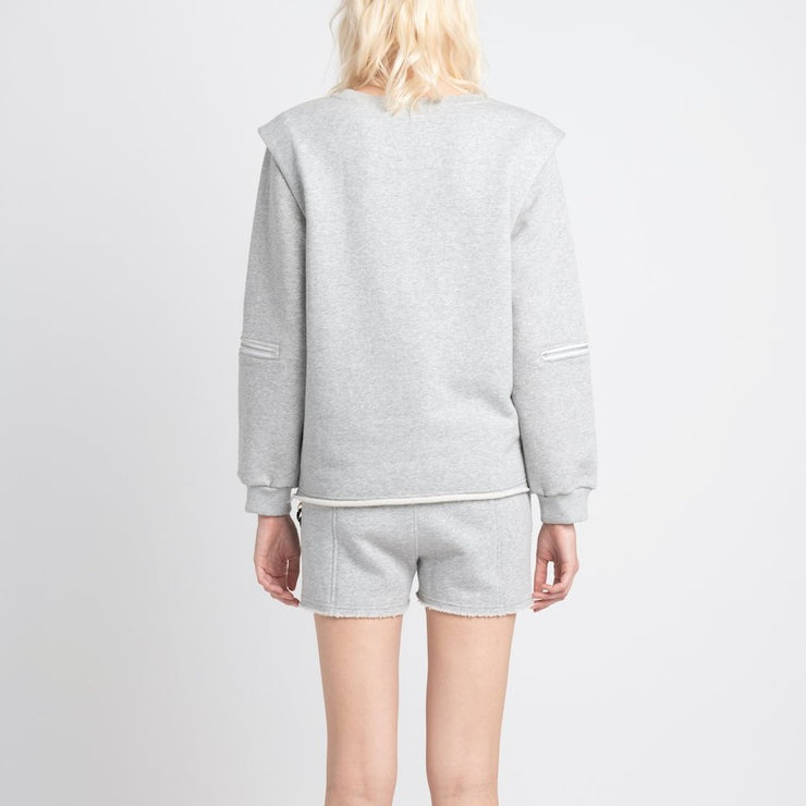 SHOULDER PAD SWEATSHIRT WITH ZIP ELBOW - VHNY