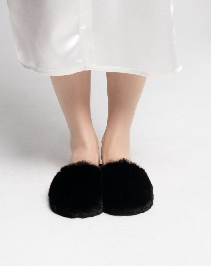 FAUX FUR SLIDES - BLACK - VHNY