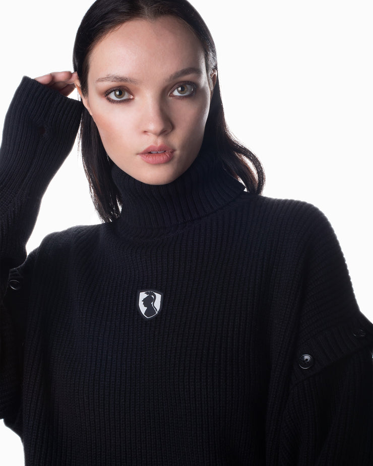 Turtleneck Knit Top - Black