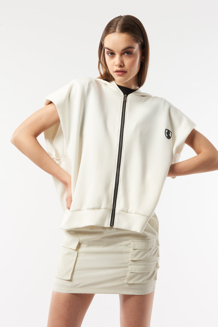 Shoulder padded oversized hooded vest