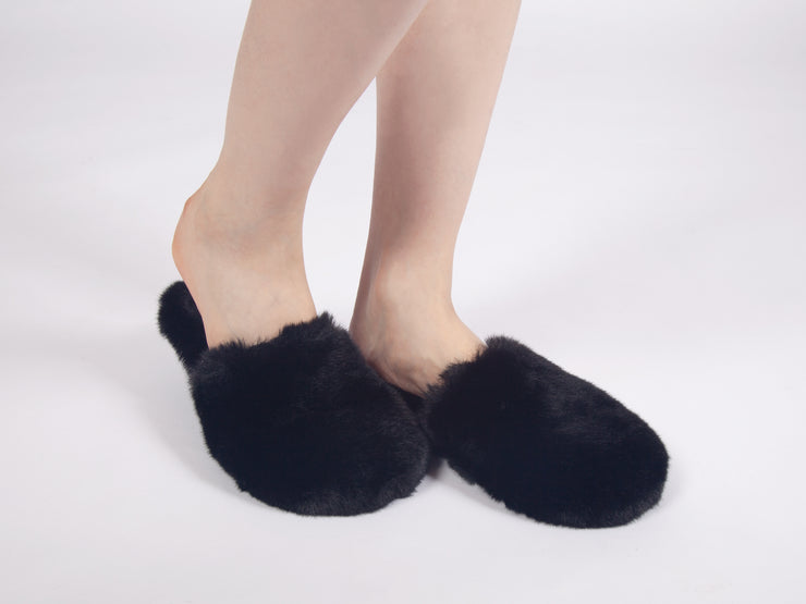 FAUX FUR SLIDES - BLACK