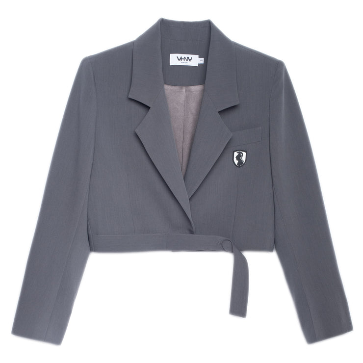 Belted hem oversized tailored cropped wool crepe blazer