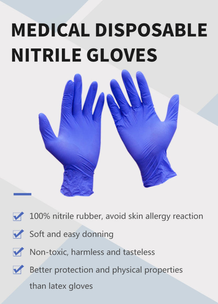 Blue Nitrile Gloves, Medical Use, Large, 100-pack - National PPE LLC