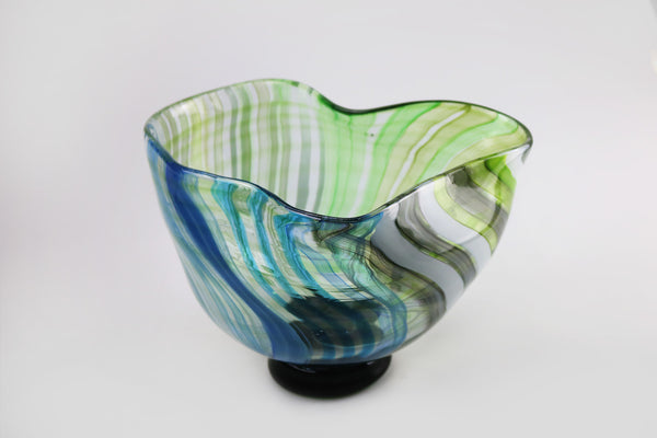 Large Footed Wave Bowl - Happiness Series