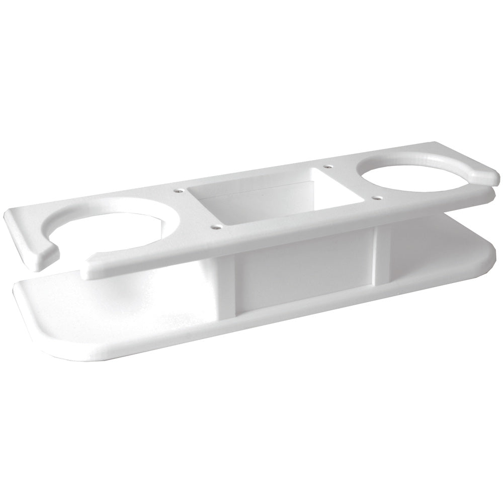 TACO 2-Drink Poly Holder w/Catch-All - White [P01-2000W]
